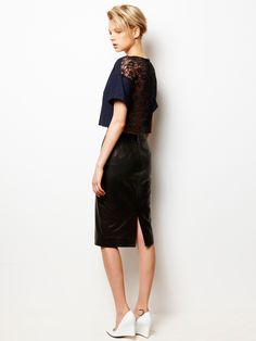 Back Lace Top and Tight Leather Skirt / LE CIEL BLEU