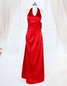Thin Spring Elegant & Luxurious Sleeveless Halter Elastic Woven Satin Red Floor Length Bridesmaid Dress