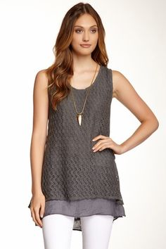 Monoreno Double Layer Open Knit Tank by Assorted on @HauteLook