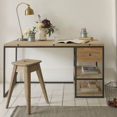 """DEN. """"It's a humdinger!"""" was the general feeling when we saw our final version of this clever desk. The gunmetal frame looks the bee's knees paired with the reclaimed timber."""