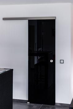 Glas Schiebetür Piano mit schwarzem Glas in eleganter Optik