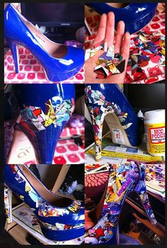 Marvel comic shoes DIY projects.  I love this  idea and will be trying it out over the weekend. I probably would do this :)