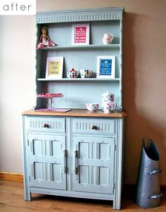 Pretty amazing make-over of an ugly (IMO) dark wood hutch/buffet into this charming piece of furniture!