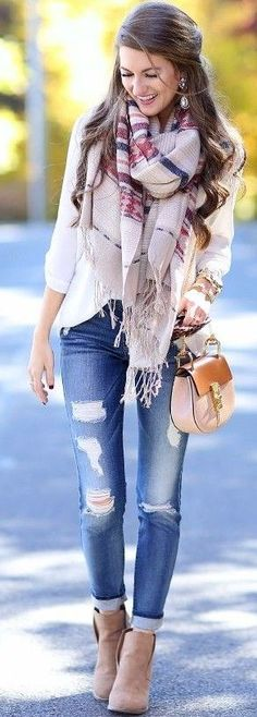 #september #trending #outfits | Statement Plaid Scarf + Classics