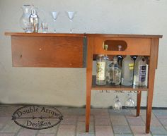 Repurposed Sewing Table Mini Bar by DoubleArrowDesigns on Etsy