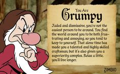 I took Zimbio's Seven Dwarfs quiz and I'm Grumpy! thats my sister Grumpy Meme, Grumpy Dwarf, Disney Art, Disney Movies, Walt Disney, Snow White 7 Dwarfs, Disney Coloring Pages, Seven Dwarfs, Disney Quotes