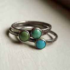 stacking turquoise rings from brightsmith on etsy - super cute!