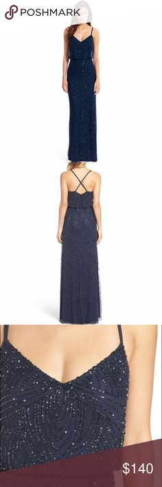 Adrianna Papell navy beaded chiffon blouson gown This dress is a showstopper! Currently sold at Nordstrom for $298. Brand new with tags. Size 6. Adrianna Papell Dresses Maxi