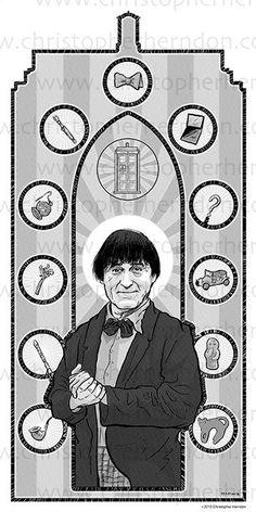 Saint Troughton of Who Screen Print 11x17 Print by ChrisHerndonArt on Etsy.com $25 Christopher Herndon Artwork Dr Who February 2015