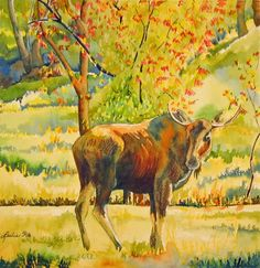 Leslie White   WATERCOLOR Leslie White, Watercolor Animals, Moose Art, Artwork, Painting, Google Search, Style, Paintings, Swag