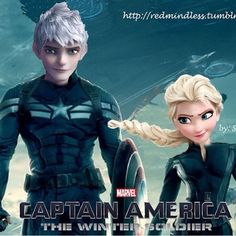 Jack Frost and Elsa as Captain America and Black Widow The Winter Soldier.
