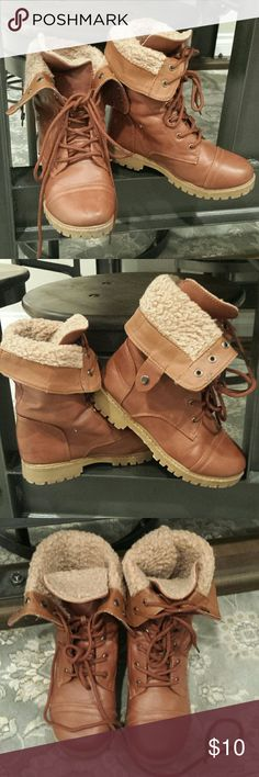 Brown Leather Combat Boots Big kids faux leather combat boots worn 2 times. Cute with skinny jeans. other Shoes Boots