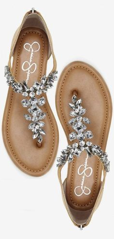 Sandals Summer - Jeweled Summer Sandals ❤︎ cUte For A Beach Wedding - There is nothing more comfortable and cool to wear on your feet during the heat season than some flat sandals. Pretty Shoes, Beautiful Shoes, Cute Shoes, Me Too Shoes, Cute Sandals, Shoes Sandals, Dress Shoes, Bling Sandals, Diamonds