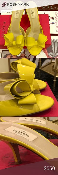 STUNNING VALENTINO MULE CLASSIC VALENTINO OF N A BEAUTIFUL YELLOW COLOR, WEAR AS A NEUTRAL. LOOKS SUPER SEXY ON THE FOOT. IN GREAT CONDITION, WORN about 3-4 times. Valentino Shoes Mules & Clogs