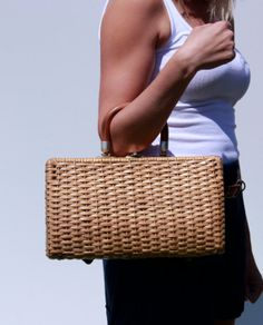 Vintage Plastic Wicker Purse with Bamboo by HauteBaubleVintage