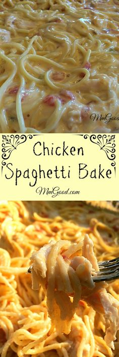 spaghetti bake is a great combination of chicken with cheese and spaghetti.the secret is using rotel canned tomatoes! This casserole a family favorite, it's great for company, football games and even for potluck.you will love this recipe! Huhn Spaghetti, Baked Chicken Spaghetti, White Spaghetti Recipe, Recipes With Spaghetti Noodles, Taco Spaghetti, Cheese Spaghetti, Casserole Spaghetti, Chicken Cheese Casserole, Potato Casserole