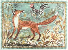 Mark Hearld 'Fox' lithograph, editioned at The Curwen Studio http://www.stjudesprints.co.uk/collections/mark-hearld-prints-1