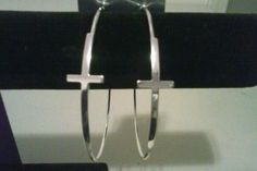 "Black Friday Sale!!!!!!.Silver cross-hoop earrings.2 & 3/4"" diameter. 2 pairs in Jewelry & Watches, Fashion Jewelry, Earrings 