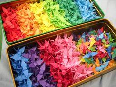 A rainbow of paper cranes!