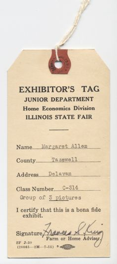 Historical 4-H: Exhibitor's Tag at Illinois State Fair
