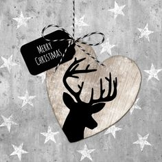 Mooie #kerstkaart met #rendier en #sterren. I love it!