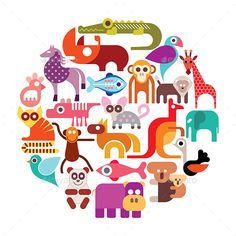 Zoo animals vector round illustration. Various colorful icons isolated on a white background.  Vector file can be scaled to any si