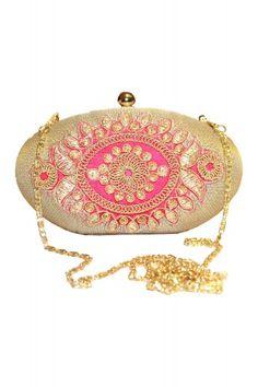 f4dc89e33 Gold Pink Oval Box Clutch - £37