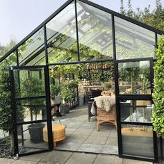 Backyard Greenhouse, Small Greenhouse, Small Backyard Landscaping, Outdoor Spaces, Outdoor Living, Indoor Outdoor, Playground Flooring, Greenhouse Interiors, Chinese Garden