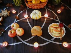 Pagan Altar, my guess is for Fall Equinox, or possibly Samhain. Beautifully laid out to maximize the design motif on the altar cloth. Need to make this altar for harvest Mabon, Josephine Wall, Yule, Samhain Halloween, Autumnal Equinox, Pagan Altar, Altar Cloth, Season Of The Witch, Sabbats