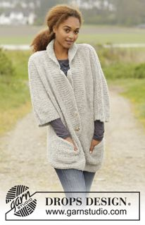 """Clarice - Chaqueta de punto DROPS con bolsillos y cuello, en """"Alpaca Bouclé"""" y """"Brushed Alpaca Silk"""". Talla: S-XXXL. - Free pattern by DROPS Design"""