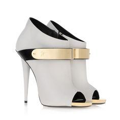 Giuseppe Zanotti | White Nappa Leather Gold Buckle Peep Toe Booties | Fall 2013 |=