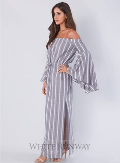 Tortuga Off Shoulder Drawstring Midi. A gorgeous midi dress by Shona Joy. An off shoulder style featuring flared sleeves, drawstring waist and midi length skirt with side splits.