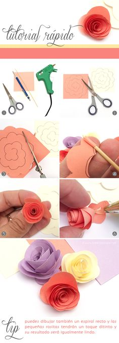 DIY Tutorial Rápido: Hoy como hacer mini rositas de papel! Sigue este simple paso a paso :) - Crafting Practice Simple Paper Flower, Rolled Paper Flowers, Flower Paper, Tissue Paper Flowers, Felt Flowers, Paper Flowers How To Make, Fabric Flowers, Flower Crafts, Diy Flowers