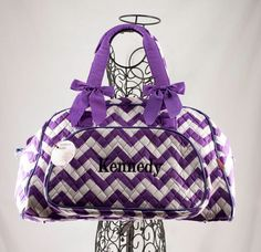 Personalized Purple Duffle Bag Chevron Print by MilliesGifts on Etsy https://www.etsy.com/listing/249613372/personalized-purple-duffle-bag-chevron