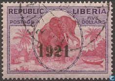 Liberia - Elephant with imprint 1921