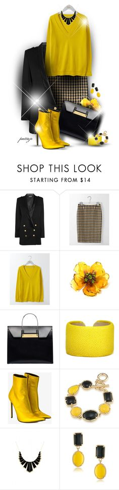 """Ain't Nothin' But a Houndstooth"" by rockreborn ❤ liked on Polyvore featuring Balmain, Boden, Balenciaga, Leighelena, Haider Ackermann, 1st & Gorgeous by Carolee and House of Harlow 1960"