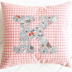 Personalised/ personalized cushion for a girls bedroom using Liberty of London fabric! Alice in Wonderland fabric