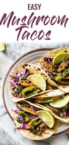 Easy Mushroom Tacos filled with marinated portabello mushrooms, bell peppers and a crunchy red cabbage slaw. Ready in only 25 minutes and makes a great meatless weeknight dinner! Also perfect for Mexican taco nights. Vegetarian Tacos, Vegetarian Cabbage, Vegetarian Recipes, Healthy Recipes, Healthy Food, Stuffed Portabello Mushrooms, Marinated Mushrooms, Cabbage Slaw, Red Cabbage