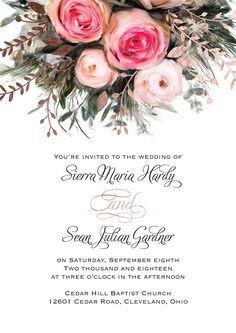 An ethereal illustration of watercolor roses in pink creates the peaceful nature of these beautiful garden wedding invitations. Real foil accents in your choice of three colors add shimmer and shine to the floral bouquet.