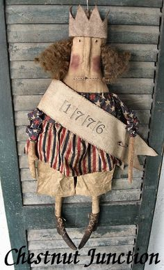 Miss Libby ePattern primitive country cloth doll pattern decoration ornament fabric craft sew design decor patriotic july 4th american americana usa summer flag freedom plush plushie softie painted rustic shabby chic cottage crafts Uncle Sam sewing patterns by Chestnut Junction.