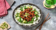 Chili-garlic paste adds a spicy and zesty kick to this bountiful beef bowl. Beef Bowl Recipe, Ginger Green Beans, Hello Fresh Recipes, Chili Garlic Sauce, Green Veggies, Garlic Paste, Sweet Chili, Ground Beef Recipes