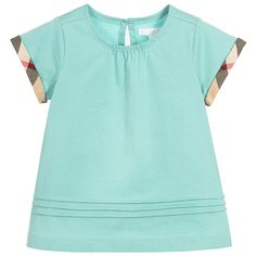 Burberry - Girls Green T-Shirt with Checked Trims   Childrensalon
