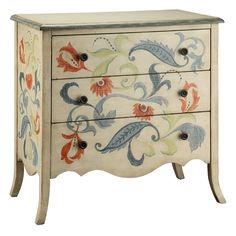 The Stein World Painted Treasures 3 Drawer Accent Chest is perfect for a cottage/country home. The accent chest is made from MDF and veneer and stays strong for years to come. It is further completed with a scalloped apron, gently flared legs, and faded blue washed edges. This accent chest from the Painted Treasures collection has a hand painted light finish and looks beautiful. Featuring a floral design, this chest looks beautiful. It has 3 drawers that offer ample amount of storage spa...