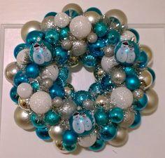 Turquoise Snowman Ornament Wreath