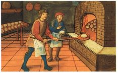 Bread in the Middle Ages.  Scroll down for recipe.  A medieval baker with his apprentice. The Bodleian Library, Oxford.