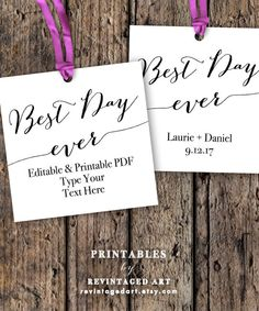 Best Day Ever Tags Printable Template // Editable by RevintagedArt