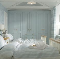 Guest bedroom in subtle blues and white. Blue Bedroom, Closet Bedroom, Bedroom Decor, Ashley Bedroom, Bathroom Closet, Bedroom Modern, Kids Bedroom, French Country Bedrooms, French Country Decorating