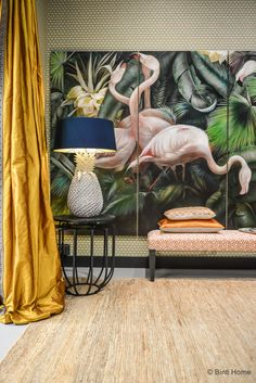 Salon Residence Singer Laren 2015 Eveline Schmitz flamingo's © Binti Home Blo Interior Desing, Interior And Exterior, Interior Decorating, Inspiration Wand, Interior Inspiration, Gold Curtains, Deco Design, Tropical Decor, Home And Deco
