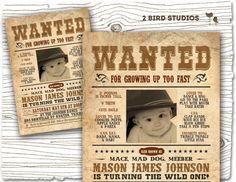 Cowboy western wanted custom printable diy birthday invitation cowboy invitation for cowboy birthday party western cowboy party invitation first birthday invitation vintage diy printable invitation filmwisefo