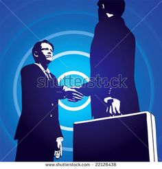 Vector Illustration of two business men closing a deal with a handshake